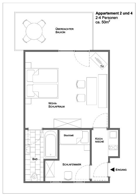 Appartement für 2-4 Personen